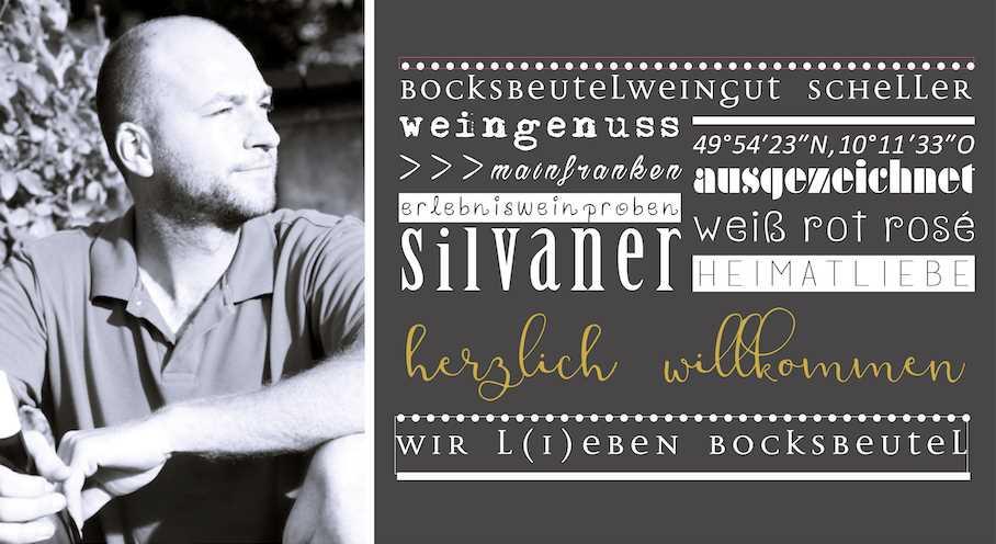 Michael Scheller blickt über sein Weingut mit den mehrfach ausgezeichneten Bocksbeutelweinen